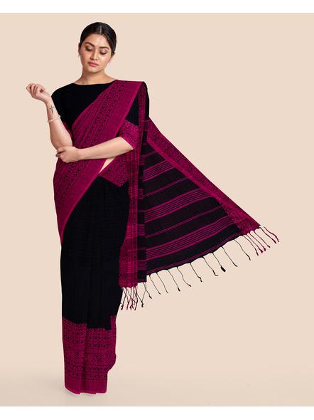Black Handwoven Pure Khadi BegumPuri Mahapaar Saree with Blouse Piece-LAAHKBSWBP006