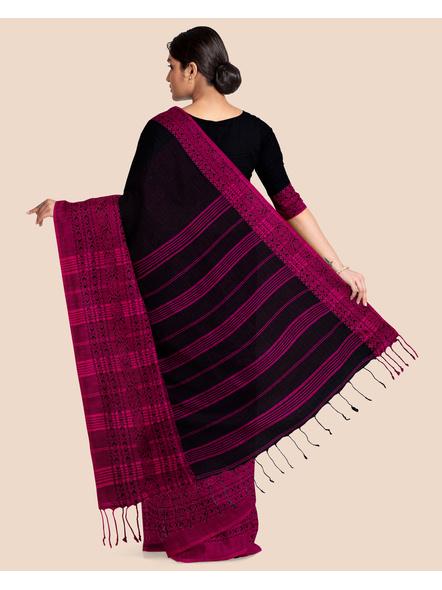 Black Handwoven Pure Khadi BegumPuri Mahapaar Saree with Blouse Piece-Black-Khadi Cotton-Free-Female-Adult-1