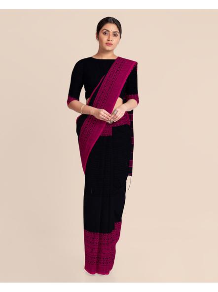 Black Handwoven Pure Khadi BegumPuri Mahapaar Saree with Blouse Piece-Black-Khadi Cotton-Free-Female-Adult-2
