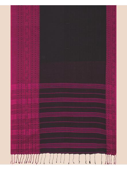 Black Handwoven Pure Khadi BegumPuri Mahapaar Saree with Blouse Piece-Black-Khadi Cotton-Free-Female-Adult-3