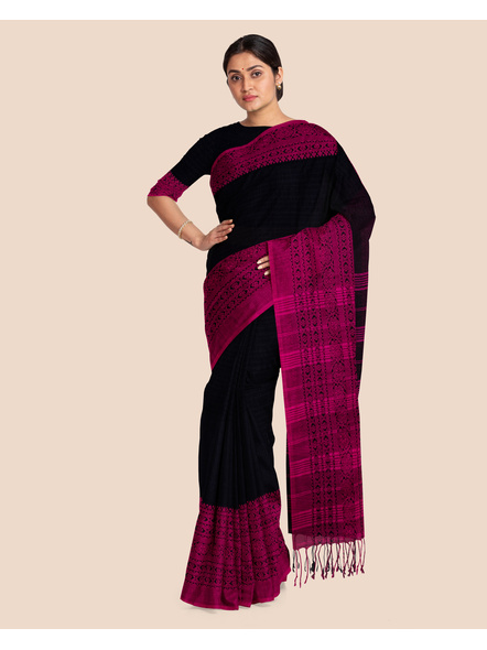 Black Handwoven Pure Khadi BegumPuri Mahapaar Saree with Blouse Piece-Black-Khadi Cotton-Free-Female-Adult-4