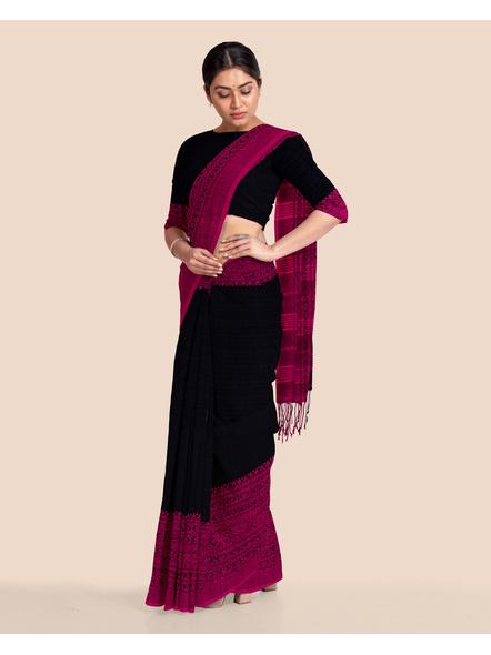 Black Handwoven Pure Khadi BegumPuri Mahapaar Saree with Blouse Piece-Black-Khadi Cotton-Free-Female-Adult-5