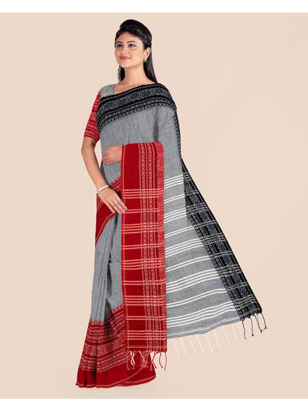 Grey Handwoven Pure Khadi BegumPuri Ganga Jamuna Mahapaar Saree with Blouse Piece-LAAHKBSWBP007