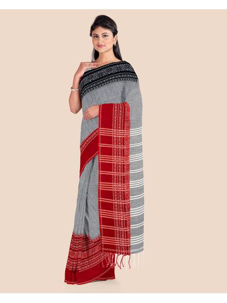 Grey Handwoven Pure Khadi BegumPuri Ganga Jamuna Mahapaar Saree with Blouse Piece-1
