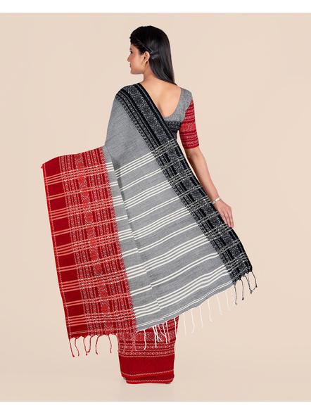 Grey Handwoven Pure Khadi BegumPuri Ganga Jamuna Mahapaar Saree with Blouse Piece-2