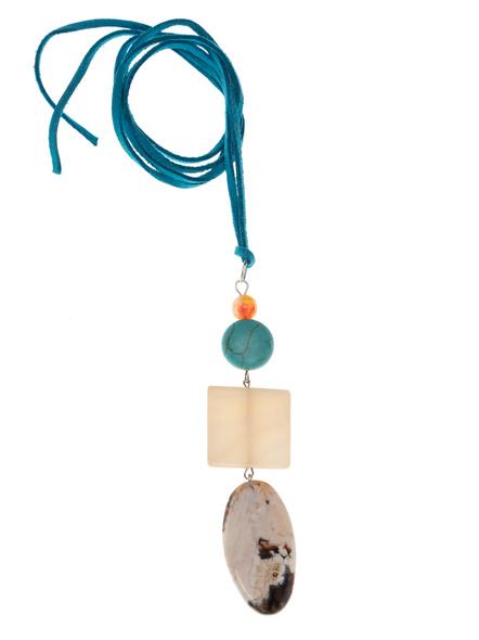 Handmade Semi-Precious Stones Sleek Pendant Strung with Suede Cord-LAASLEEK015
