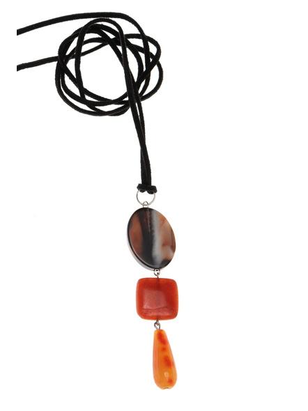 Handmade Semi-Precious Stones Sleek Pendant Strung with Suede Cord-LAASLEEK013