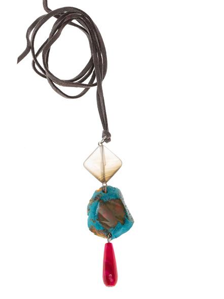 Handmade Semi-Precious Stones Sleek Pendant Strung with Suede Cord-LAASLEEK011
