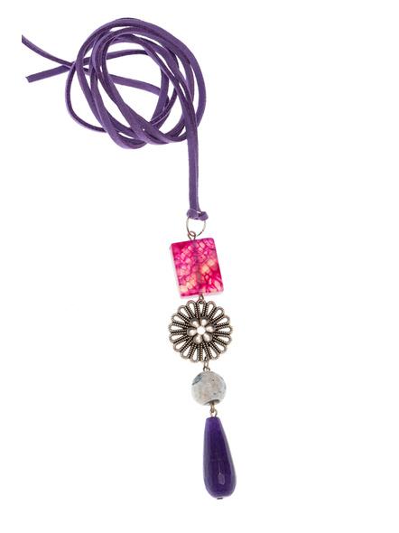 Handmade Semi-Precious Stones Sleek Pendant Strung with Suede Cord-LAASLEEK010