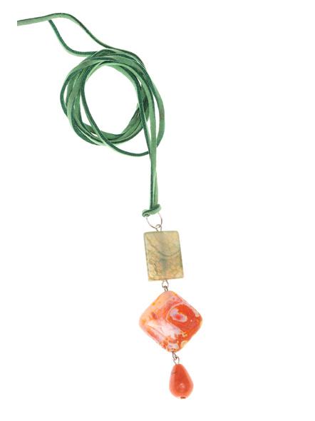 Handmade Semi-Precious Stones Sleek Pendant Strung with Suede Cord-LAASLEEK009