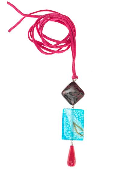 Handmade Semi-Precious Stones Sleek Pendant Strung with Suede Cord-LAASLEEK007