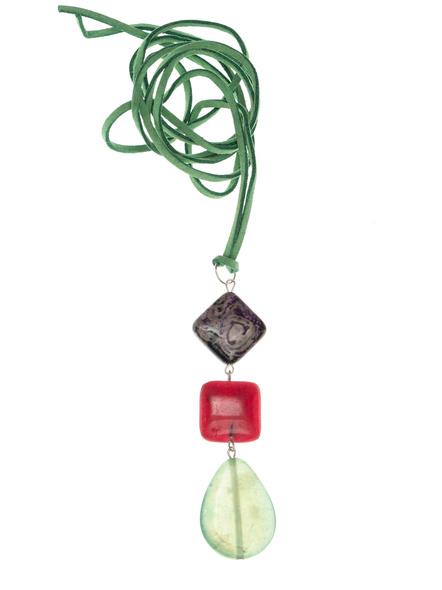 Handmade Semi-Precious Stones Sleek Pendant Strung with Suede Cord-LAASLEEK006
