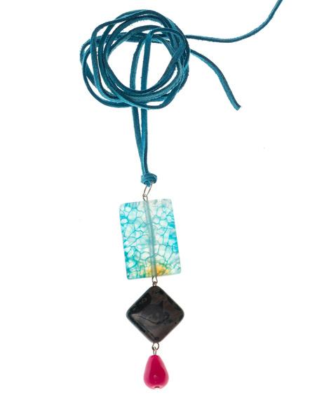 Handmade Semi-Precious Stones Sleek Pendant Strung with Suede Cord-LAASLEEK005