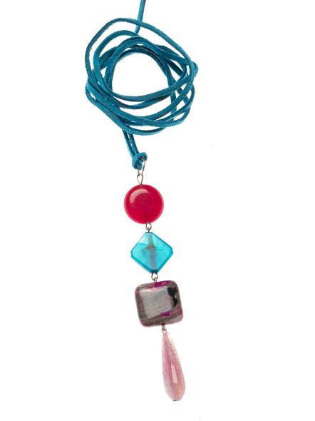 Handmade Semi-Precious Stones Sleek Pendant Strung with Suede Cord-LAASLEEK003
