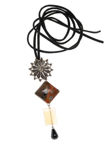 Handmade Semi-Precious Stones Sleek Pendant Strung with Suede Cord-LAASLEEK002