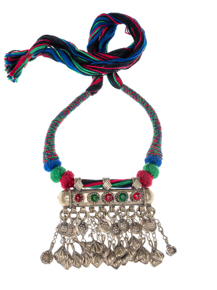 Handmade Afghani Necklace with Multi Color Thread-LAANSNL002
