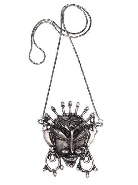 Handcrafted Non Silver Tribal Face Pendant-LAANSNL005