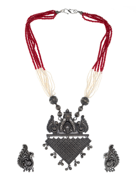 Handcrafted Oxidised Silver Designer Pendant Necklace with Earring-LAANSNLS001