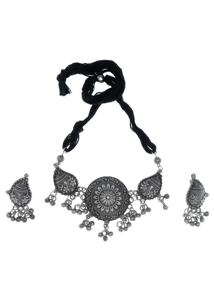 Handcrafted Oxidised Silver Peacock Designer Pendant  with Earring-LAANSNLS002
