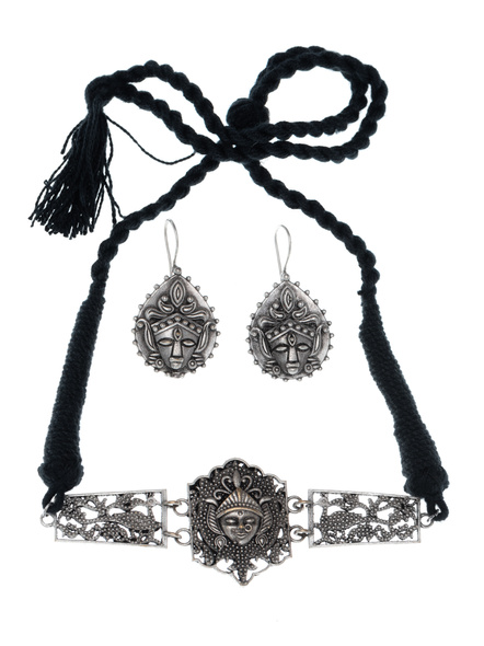 Handcrafted Oxidised Silver Maa Durga Choker Pendant with Earring-LAANSNLS003