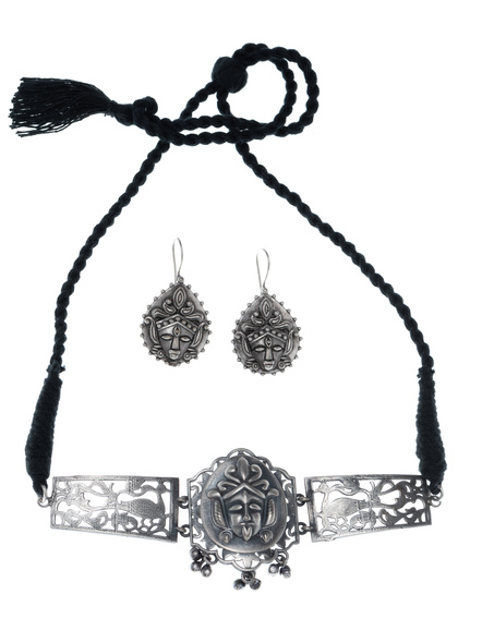 Handcrafted Oxidised Silver Maa Kali Choker Pendant with Earring-LAANSNLS004