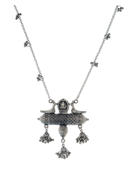 Handcrafted Oxidised Silver Temple Neckpiece with Long Ghugroo Chain-LAANSNL006