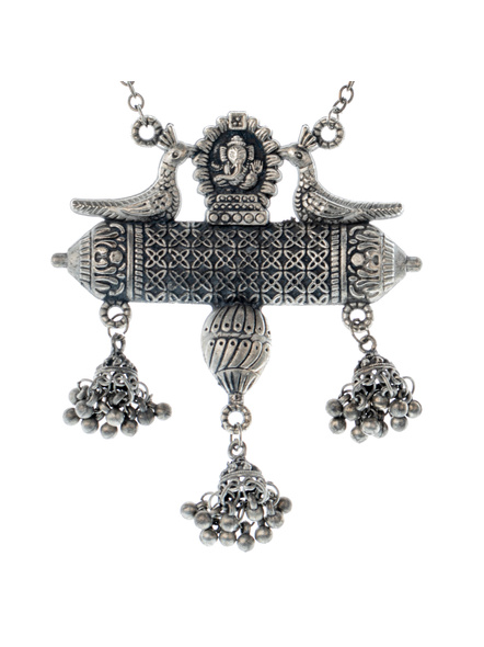 Handcrafted Oxidised Silver Temple Neckpiece with Long Ghugroo Chain-1