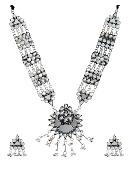 Handcrafted Oxidised Silver Mirror Work Long Neckpiece with Adjustable Thread Stud Earring-LAANSNLS005