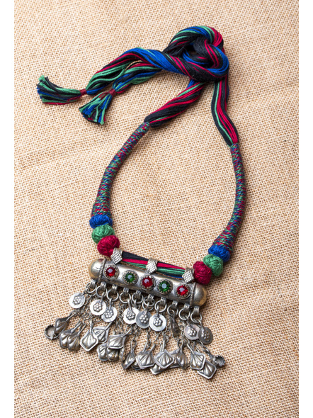 Handmade Afghani Necklace with Multi Color Thread-1