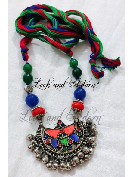 Afghan Pendant with Thread Balls and Semi Precious Stones-1