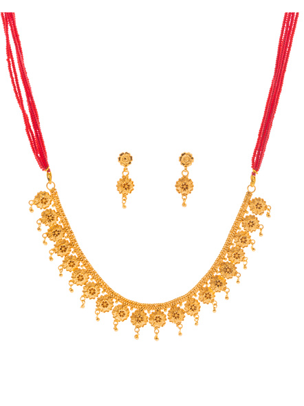 Traditional Ethnic Jewellery 1.5 Gram Gold Polished Floral Style Necklace Set with Red Seed Bead Adjustable Tassel and Matching Earring for Women-LAAGP15NLS01