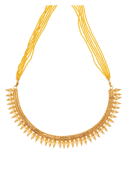 Traditional Ethnic Jewellery 1.5 Gram Gold Polished Leaf Style Necklace with Golden Seed Bead Adjustable Tassel for Women-LAAGP15NL01