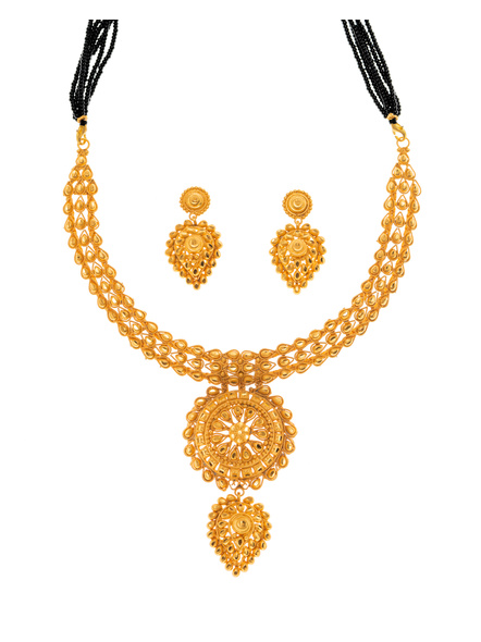Traditional Ethnic Jewellery 1.5 Gram Gold Polished Floral Style Necklace Set with Black Seed Bead Adjustable Tassel and Matching Earring for Women-LAAGP15NLS02