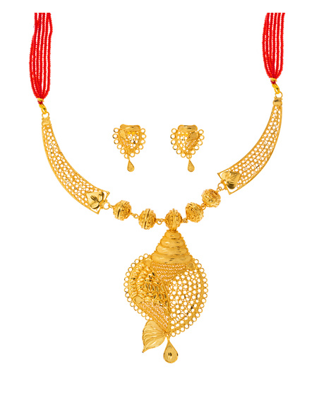 Traditional Ethnic Jewellery 1.5 Gram Gold Polished Conch Style Necklace Set with Red Seed Bead Adjustable Tassel and Matching Earring for Women-Gold-Copper-Adult-Female-2