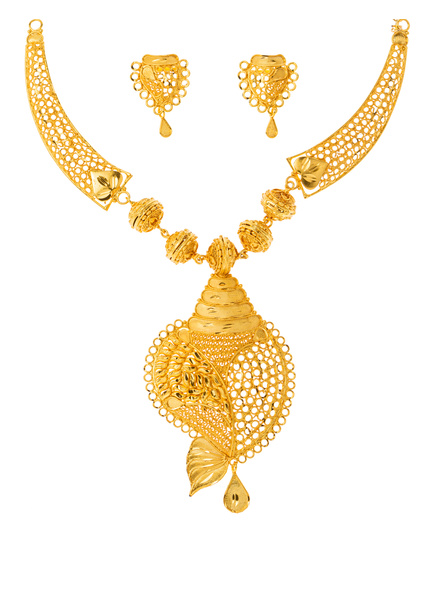 Traditional Ethnic Jewellery 1.5 Gram Gold Polished Conch Style Necklace Set with Red Seed Bead Adjustable Tassel and Matching Earring for Women-Gold-Copper-Adult-Female-3
