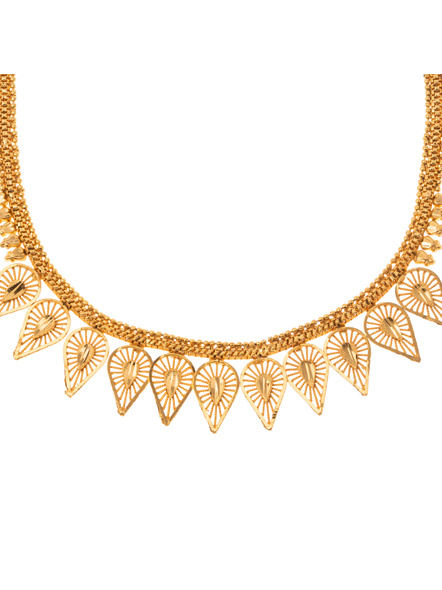 Traditional Ethnic Jewellery 1.5 Gram Gold Polished Leaf Style Necklace Set with Red Seed Bead Adjustable Tassel and Matching Earring for Women-Gold-Copper-Adult-Female-20CM-2