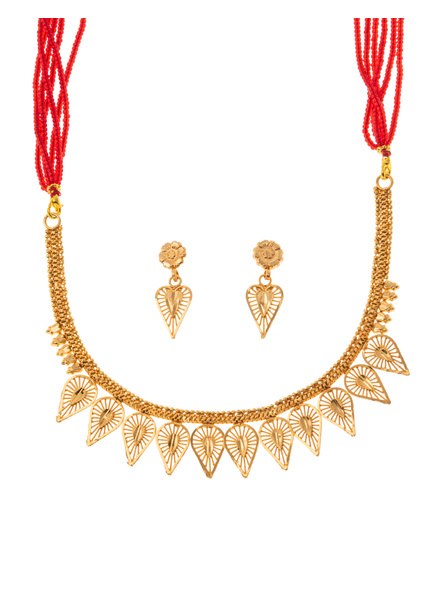 Traditional Ethnic Jewellery 1.5 Gram Gold Polished Leaf Style Necklace Set with Red Seed Bead Adjustable Tassel and Matching Earring for Women-LAAGP15NLS04