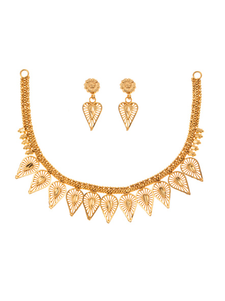 Traditional Ethnic Jewellery 1.5 Gram Gold Polished Leaf Style Necklace Set with Red Seed Bead Adjustable Tassel and Matching Earring for Women-Gold-Copper-Adult-Female-20CM-1