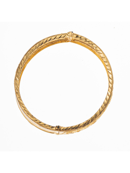 """Traditional Ethnic Jewellery 1.5 Gram Gold Polished Chur Open  Bangle with Screw  for Women (1 Piece)-Gold-Copper-Adult-Female-2.6""""-1"""
