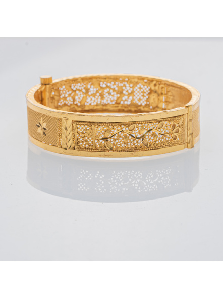 """Traditional Ethnic Jewellery 1.5 Gram Gold Polished Chur Open  Bangle with Screw  for Women (1 Piece)-Gold-Copper-Adult-Female-2.6""""-2"""