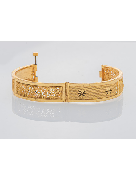 """Traditional Ethnic Jewellery 1.5 Gram Gold Polished Chur Open  Bangle with Screw  for Women (1 Piece)-Gold-Copper-Adult-Female-2.6""""-3"""