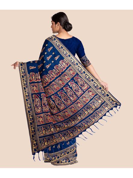 Baluchari Silk Blend Saree with Blouse Piece (Blue)-4