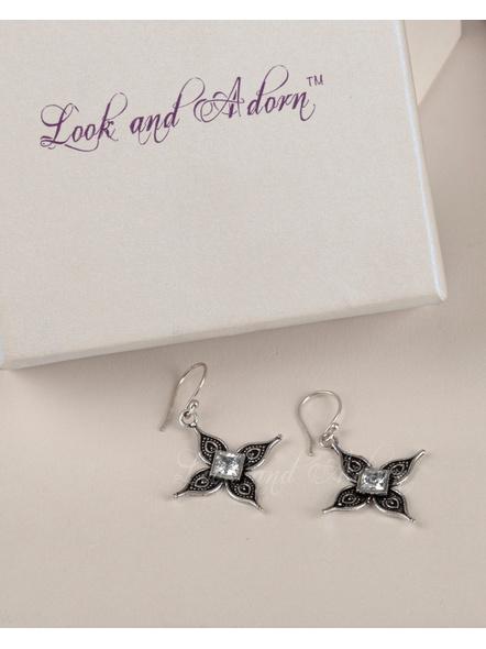 Handcrafted German Silver Floral Dangler Earring-LAAER203