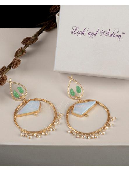 Handcrafted Opal Round Brass Frame Leaf Design Stud Earrings-LAAER202