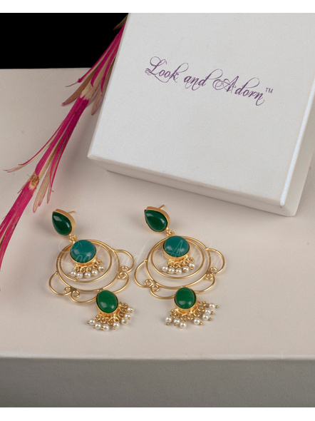 Handcrafted Designer Green Drop Stone Stud in Brass Frame Earring-LAAER201
