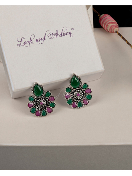 German Silver Floral Stud with Pink and Green Stone Earring-LAAER004