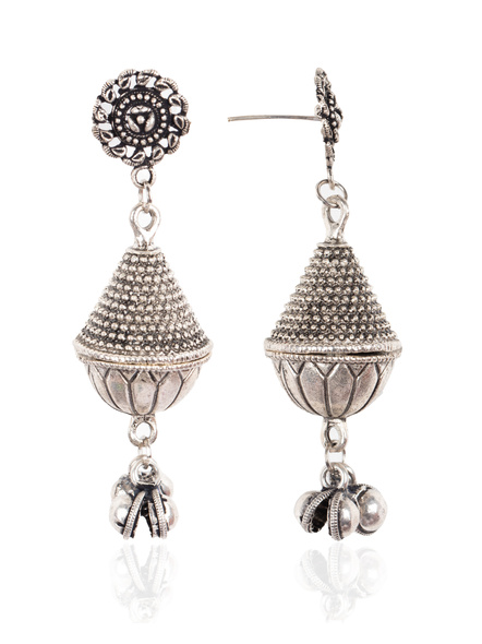 Handcrafted Designer German Silver Floral Stud with GS Bead Earring-1