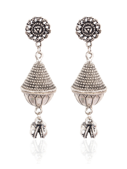 Handcrafted Designer German Silver Floral Stud with GS Bead Earring-LAAER001