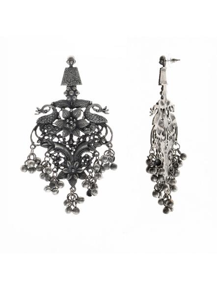 Handcrafted Designer Floral Peacock Stud Earrings-1