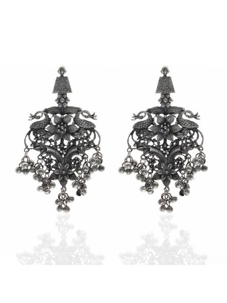 Handcrafted Designer Floral Peacock Stud Earrings-LAAER219